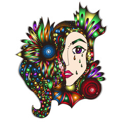 The face of a girl with psychedelic hair. Hand-Drawn Doodle