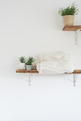 Houseplants on wooden shelf's against a white wall.