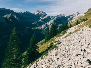 Alpstein Panorama - Mount Altmann and Mount S?ntis on Sunny Summer Morning