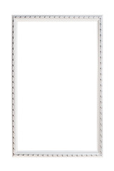 Silver frame for photographs on a white background with a metallic shade. Vertical