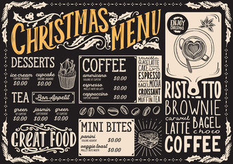 Christmas menu template for coffee shop on blackboard.