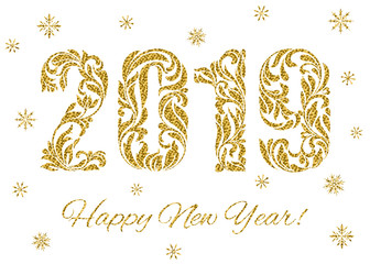 Happy New Year 2019. The figures with golden glitter made in floral ornament isolated on a white background.