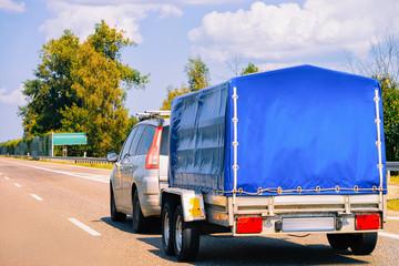Car trailer in roadway in Poland