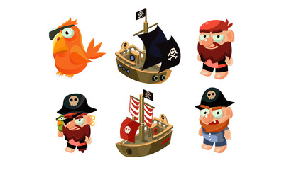 Pirate game elements set, male pirate, parrot, ship, user interface assets for mobile apps or video games vector Illustration