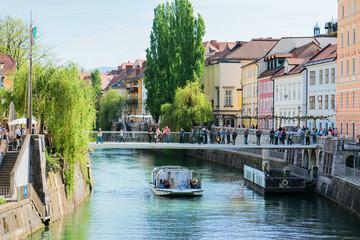 Excursion boat in Ljubljanica River in Ljubljana Slovenia
