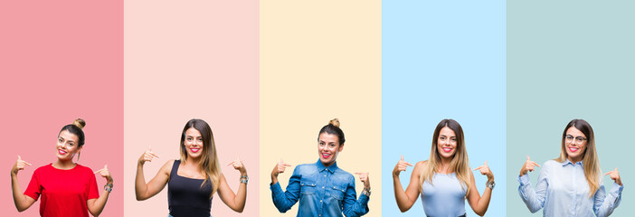 Collage of young beautiful woman over colorful stripes isolated background looking confident with smile on face, pointing oneself with fingers proud and happy.