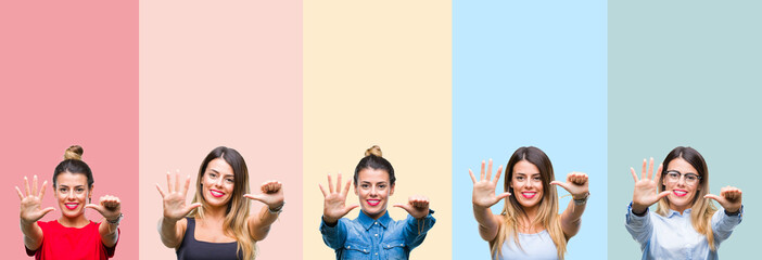 Collage of young beautiful woman over colorful stripes isolated background showing and pointing up with fingers number six while smiling confident and happy.