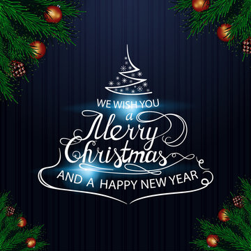 We wish you a merry Christmas and a happy new year. Lettering