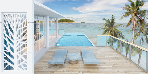 Beautiful view of Swimming Pool with  the sea at sunlight  - 3d rendering