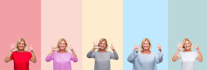 Collage of middle age senior beautiful woman over colorful stripes isolated background showing and pointing up with fingers number six while smiling confident and happy.