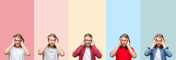 Collage of young handsome man over colorful stripes isolated background with hand on head for pain in head because stress. Suffering migraine.