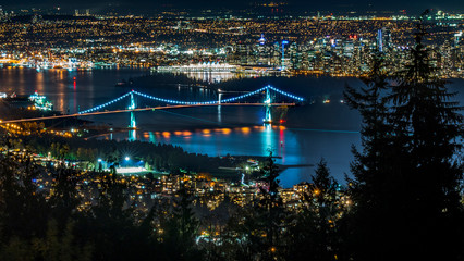 Lions Gate Bridge, long exposure at night. Beautiful British Columbia, Canada.