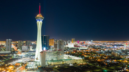 Foto op Canvas Las Vegas Aerial View Downtown City Skyline Urban Core Las Vegas Nevada