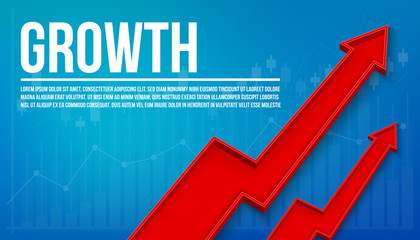Creative vector illustration 3d arrow financial growth, graphic grow banner background. Art design business presentation layout template. Abstract concept chart sales element