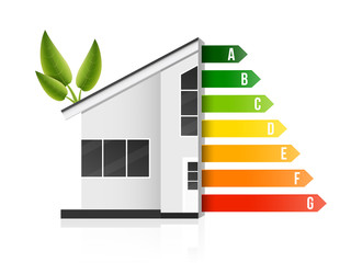 Creative vector illustration of home energy efficiency rating isolated on background. Art design smart eco house improvement template. Abstract concept graphic certification system element