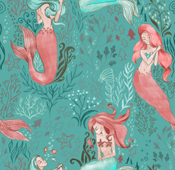 Hand-drawn seamless pattern of beautiful mermaid character and underwater sea illustration. Repeated background