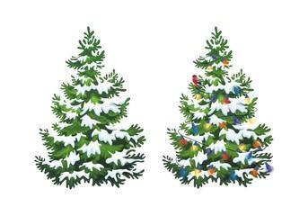 Fototapeta Vector illustration of decorated christmas tree in snow on white background. Green fluffy christmas pine, isolated on white background 1.3 obraz