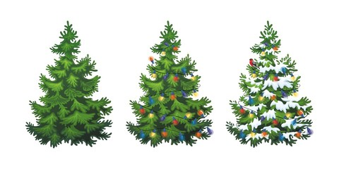 Vector illustration of decorated christmas tree in snow on white background. Green fluffy christmas pine, isolated on white background 1.4 Wall mural