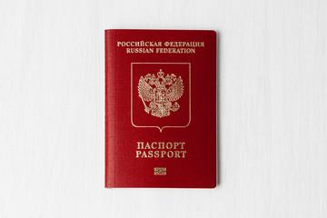 Russian passport on a light background