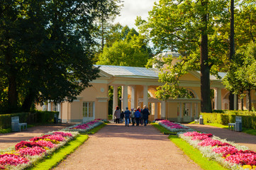Pavilion Voliere building and school excursion at the Pavlovsk Park territory in Pavlovsk, St Petersburg region, Russia