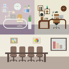 set of office rooms with furniture