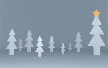 White pines background scene. Set.