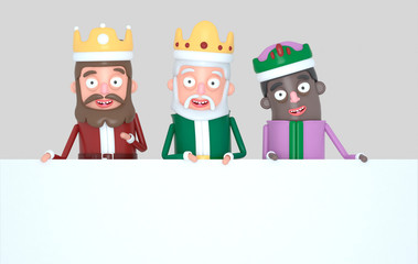 Three Magic Kings holding a White placard. Isolated.