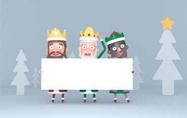 Three Magic Kings holding a white placard in a forest. Isolated.