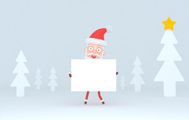 Santa Claus holding a white placard in a forest. Isolated.