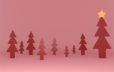 Red pines background scene. Set.