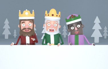 Three magic kings holding  a big white placards in a grey forest.