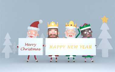 Three Magic Kings  and Santa Claus holding a placard with Greetings.