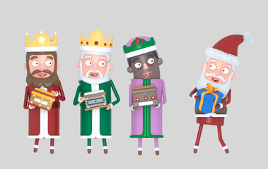 Tree Magic Kings  and Santa Claus holding presents. Isolated.