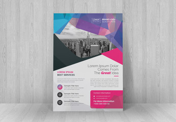 Business Flyer Layout with Pink and Purple Accents