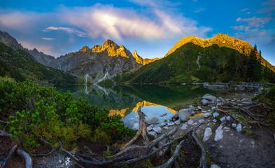 Fototapeta mountain lake during sunrise - Morskie Oko, Tatra Mountains, Poland obraz