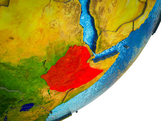 Ethiopia on 3D model of Earth with water and divided countries.