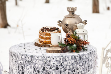 Decorations for a date or wedding in the winter forest. Winter background.