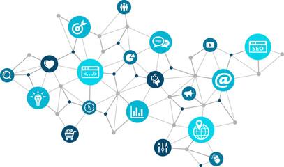 online marketing / social media marketing / SEO - vector illustration Wall mural