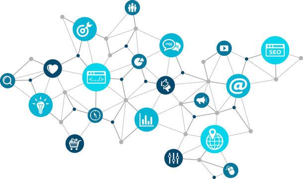 online marketing / social media marketing / SEO - vector illustration