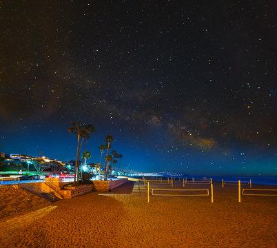 Starry sky over Hermosa Beach at night