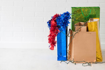 shopping bags and christmas gifts