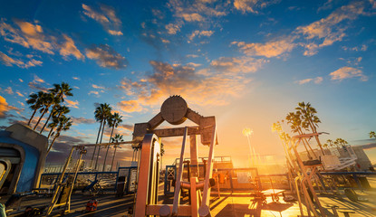 World famous Muscle Beach in Venice at sunset