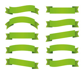 Green ribbons set. Red banners. Vector