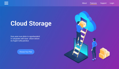 Isometric design concept on cloud storage theme. Vector illustration mock-up for website and mobile website. Landing page template.