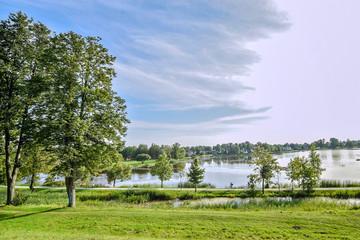 Beautiful lake Kirkilu in Lithuania near the Birzai castle