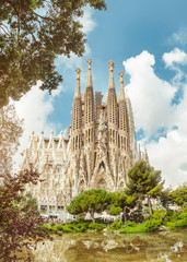 BARCELONA, SPAIN - 11 JULY 2018: Sagrada Familia Cathedral. It is main landmark of Barcelona and designed by architect Antonio Gaudi, being build since 1882
