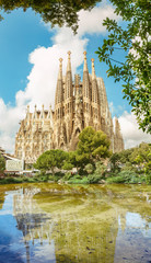 Foto op Canvas Barcelona BARCELONA, SPAIN - 11 JULY 2018: Sagrada Familia Cathedral. It is main landmark of Barcelona and designed by architect Antonio Gaudi, being build since 1882