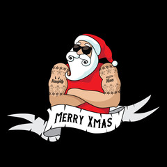 Cartoon Santa Claus muscle man with naughty and nice tattoos and ribbon with holiday greeting. Eps10 vector illustration.