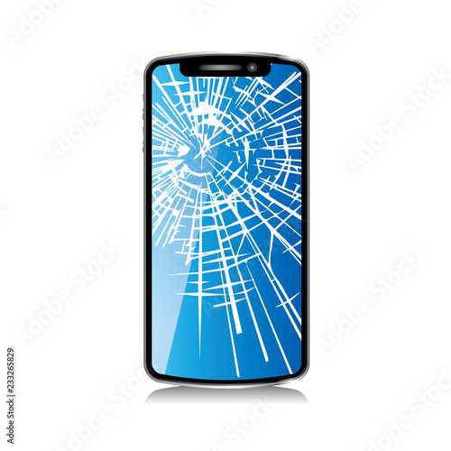 画面がヒビ割れたスマートフォンのイラスト白背景smartphone