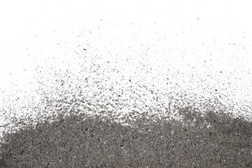Ash pile isolated on white background, texture, Ash Wednesday concept